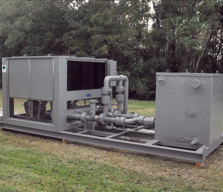 Economical air cooled chiller with dual pumps and volume tank